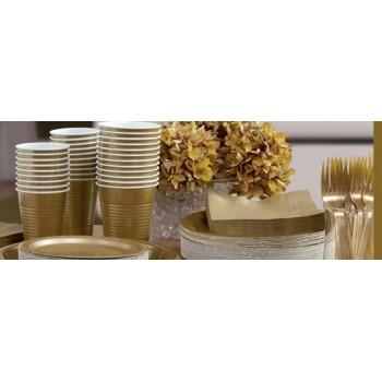 vaisselle de fête dorée en plastique sur www.bellefete.ch en Suisse