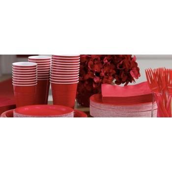 vaisselle de fête ROUGE en plastique sur www.bellefete.ch en Suisse