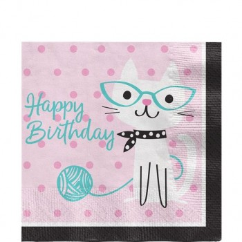serviettes anniversaire  à thème des chats