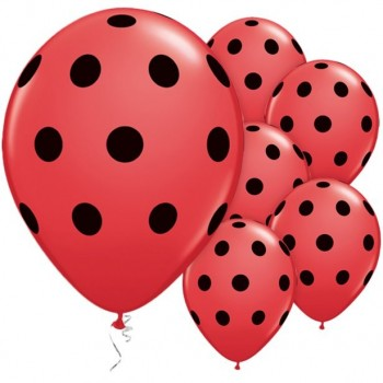 ballons rouges a pois noirs en latex