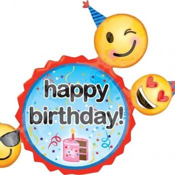 Ballon joyeux anniversaire emojis et smiley