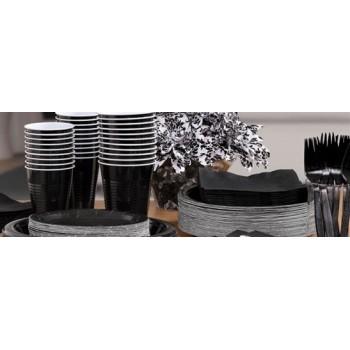vaisselle de fête noir en plastique sur www.bellefete.ch en Suisse