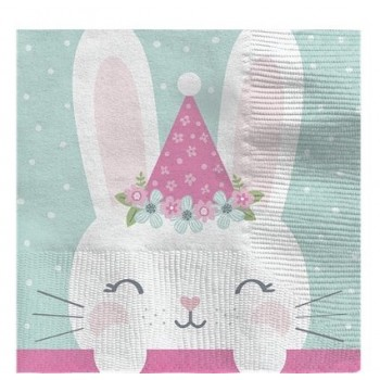 Serviettes 1er anniversaire lapinou petits lapins