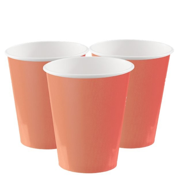 Gobelets en carton couleur corail