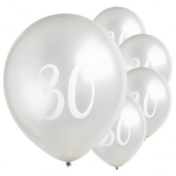 ballons LATEX 30 ANS ARGENT