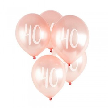 BALLONS EN LATEX 40 ANS ROSE GOLD