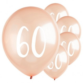 Ballons latex rose gold 60 ans en suisse
