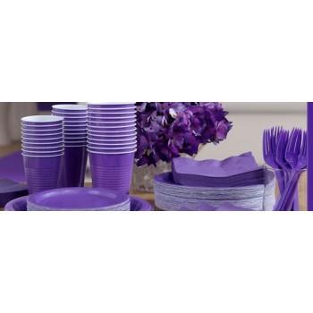 vaisselle de fête violet en plastique sur www.bellefete.ch en Suisse