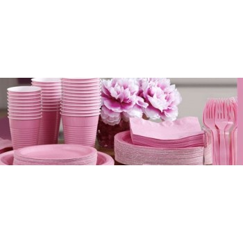 vaisselle de fête rose clair en plastique sur www.bellefete.ch en Suisse