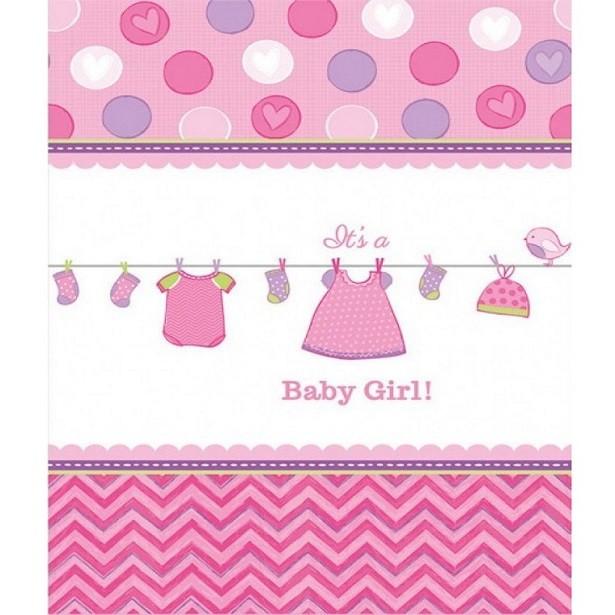 Nappe de table baby shower rose fête prénatale fille