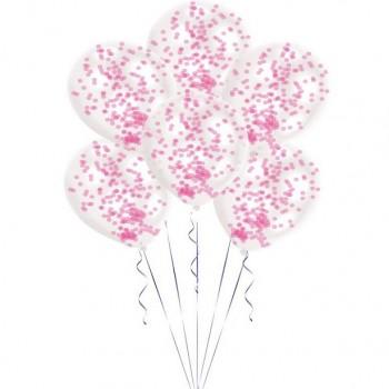 Ballons à confettis rose Déco de fête rose