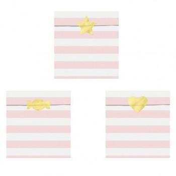 sachets à friandises avec rayures roses et stickers dores