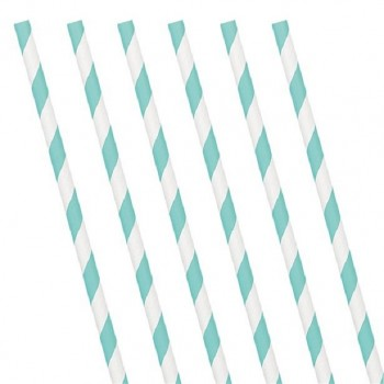 Pailles bleu clair rayures