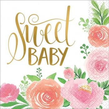 Serviettes florales 1er anniversaire fille baby shower fille