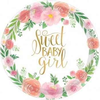 Assiette floral baby girl petite fille 26 CM