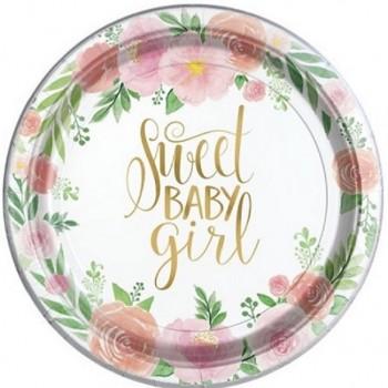 Assiette à dessert floral baby girl petite fille