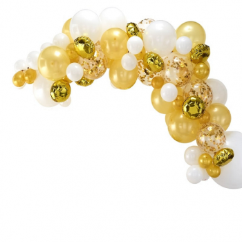 kit arche de ballons dorée et or