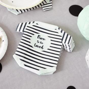 Serviettes en forme de body pour baby shower born to be LOVED