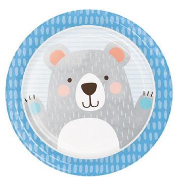 Assiettes anniversaire ours gris