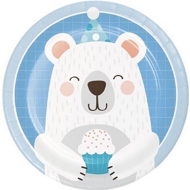 assiettes à dessert 18 cm anniversaire garçon ours gris