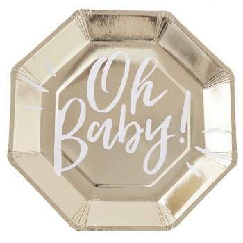 Assiettes dorées douche de bébé
