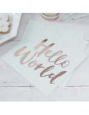 serviettes HELLO WORLD pour baby shower