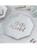 assiettes hello world baby shower