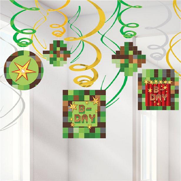 décorations d'anniversaire à thème Minecraft