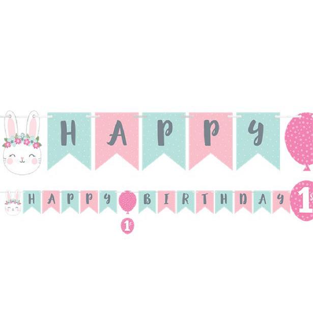Guirlande 1er anniversaire fille lapinou