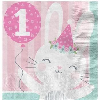 Serviettes 1er anniversaire lapinou 33 cm