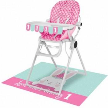 Kit chaise haute décorations 1er anniversaire lapin rose