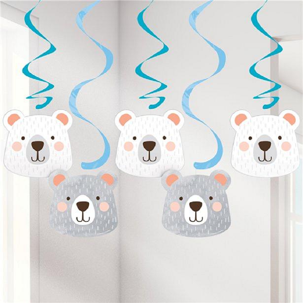 décorations à suspendre 1er anniversaire garçon ours gris