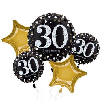 Bouquet de ballons anniversaire 30 ans aluminium