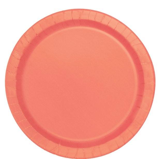 grandes assiettes de fête couleur corail