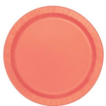 Assiettes a dessert en carton couleur corail