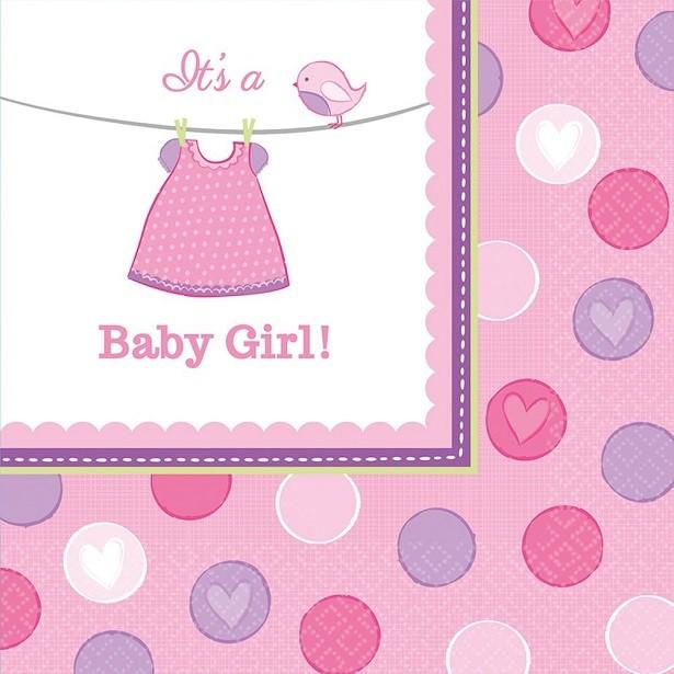 SERVIETTES BABY SHOWER FILLE IT'S A GIRL