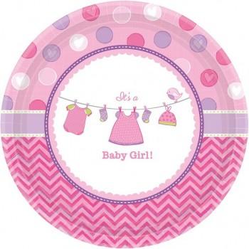 Assiettes à dessert baby shower rose fille assiettes fête prénatale rose fille