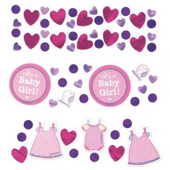 confettis décoration baby shower rose fille en suisse
