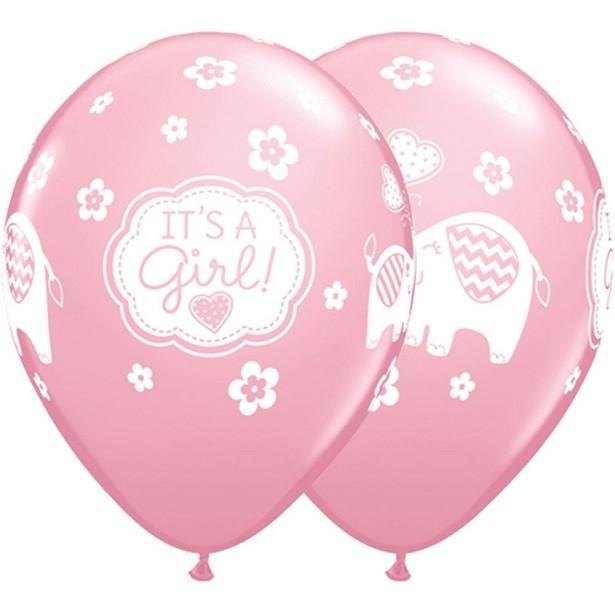 Ballons éléphants rose pour fête naissance ou fête prénatale
