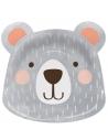 assiettes en forme de tête d'ours gris anniversaire