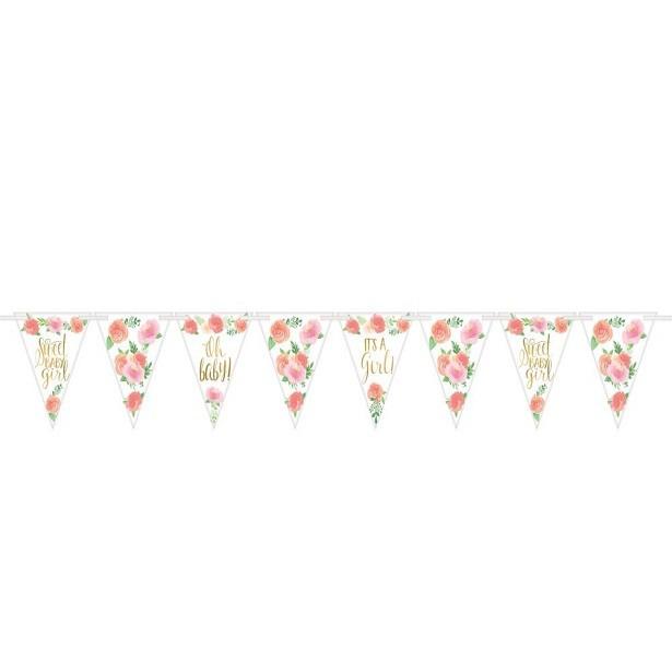 Guirlande floral baby shower 1er anniversaire fille