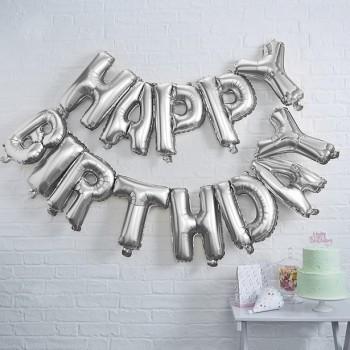 Ballon de lettres anniversaire couleur argent