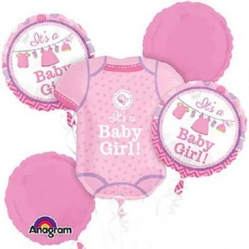 Ballons baby shower rose fête prénatale fille