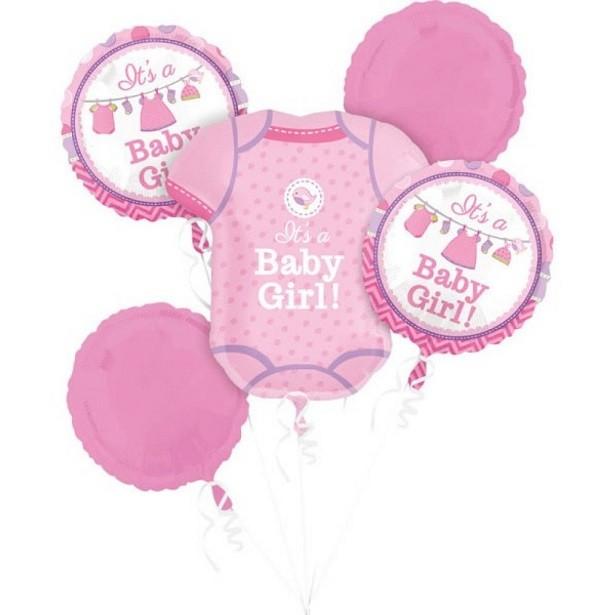 Bouquet de ballons rose c'est une fille pour baby shower et fête prénatale