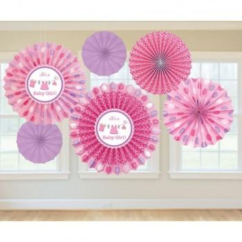 Éventails baby shower fille décorations douche de bébé rose