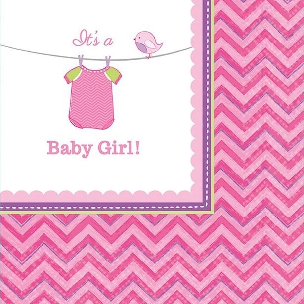 Serviettes baby rose c'est une fille