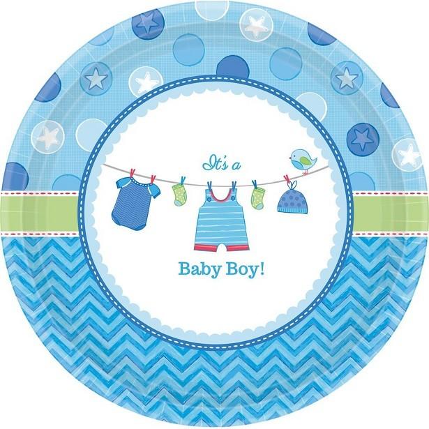 Assiettes baby shower bleu Assiettes fête prénatale garçon