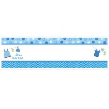 Bannière personnalisable bleu baby shower garçon fête prénatale garçon