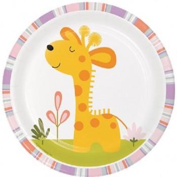 Assiettes dessert Animaux de la jungle anniversaire ou douche de bébé
