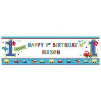 Bannière personnalisable 1er anniversaire garçon